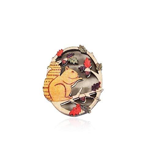 Broche de Navidad de madera Vintage Mujer Chica Encantador Collar exquisito Pin...