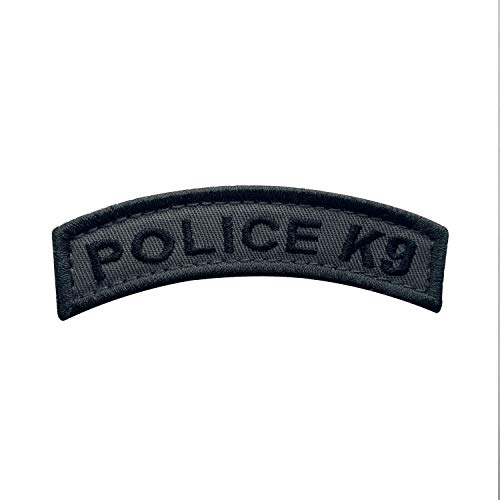 uuKen Small Embroidery Fabric Cool Police K9 Unit Tab Subdued Dark Gray Grey Shoulder Airsoft Tactical Patch with Hook Fastener (Black and Gray, 8.5x2 cm)