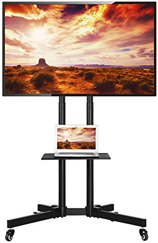 Yaheetech Mobile TV Cart with Mount on Wheels for 32-65 Inch LCD LED Plasma Flat Screens Height-Adjustable Rolling TV Stand Hold up to 110 lbs,Trolley Floor Stand w/Tray Max VESA 600x400mm