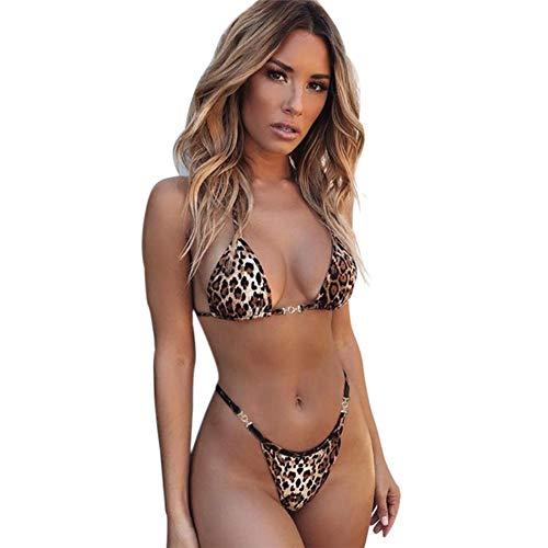 Aesyorg Damen Sommer Strand Bikini Leopard Weste sexy Slip Bikini Split-Badeanzug mit hängendem Hals