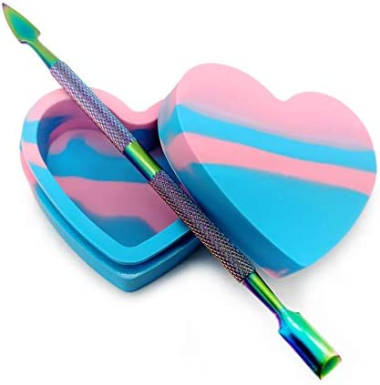 Heart Arrow Design Silicone Container Jar Oil Wax NonStick Silicone Jar oz Stainless Steel Rainbow product image
