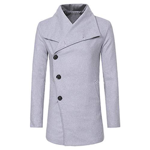 Men Jacket Men Top Lapel Button Business Casual Men Wool Coat Autumn and Winter New Wild Long Pure Color Simple Slim Fashion Men Wool Coat Fashion Men's Tops C-Gray. L