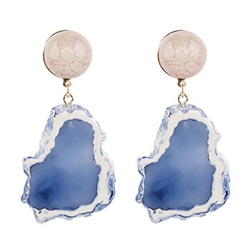 Fashion Design Acrylic Irregular Long Drop Earrings Marble Pattern Stone Handmade Geometric Resin Earrings For Women