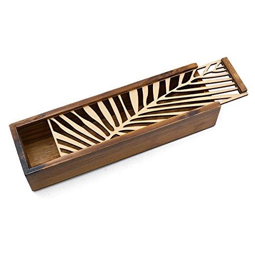 Goodquan Caja de lápices de madera tallada hueca, caja de almacenamiento multifuncional para estudiantes, regalos especiales para niños (patrón de hierba pura), estuche de madera con patrones de hojas transversales