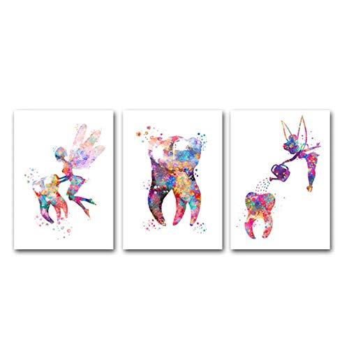 MULMF Dental Kunst Zahnfee Leinwand Malerei Aquarell Wandkunst Poster Dental Leinwanddruck Zähne Bilder Klinik Decor-40x60cmx3 kein Rahmen