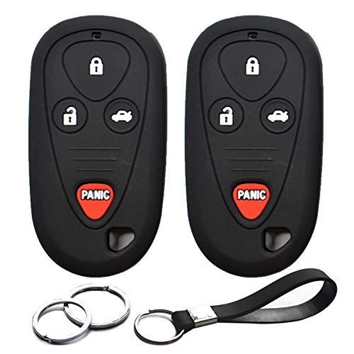 INFIPAR 2pcs Compatible with Acura 4 Buttons Black Silicone FOB Key Case Cover Protector Keyless Remote Holder for 2009 2008 2007 2006 2005 2004 2003 2002 Acura CL RL TL TSX OUCG8D-387H-A