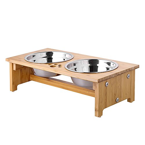 """FOREYY Raised Pet Bowls for Cats and Small Dogs, Bamboo Elevated Dog Cat Food and Water Bowls Stand Feeder with 2 Stainless Steel Bowls and Anti Slip Feet (4"""" Tall-20 oz Bowl)"""