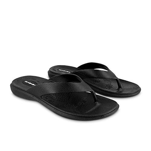 Okabashi Maui Frauen Flip Flops–Sandalen, Schwarz - Schwarz - Größe: Small