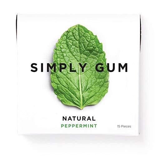 Simply Gum シンプリーガム チューインガム ペパーミント 6パック(合計90粒)ビーガン + 非遺伝子組み換え ペパーミント