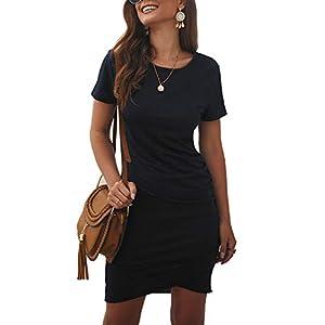 BTFBM Women's 2021 Casual Crew Neck Short Sleeve Ruched Stretchy Bodycon T Shirt Short Mini Dress