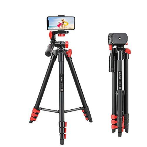 Trípode para teléfono móvil con mando a distancia para teléfono y cámara de 53 pulgadas, trípode para iPhone, mini cámara de viaje, trípode para teléfono inteligente, grabación de vídeo, Android GoPro (rojo, 53 pulgadas)