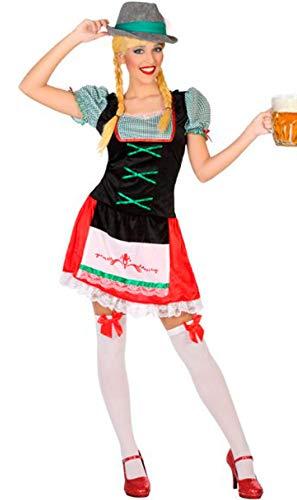 Atosa-53856 Atosa-53856-Disfraz Alemana-Adulto M a L-Mujer, Color verde (53856