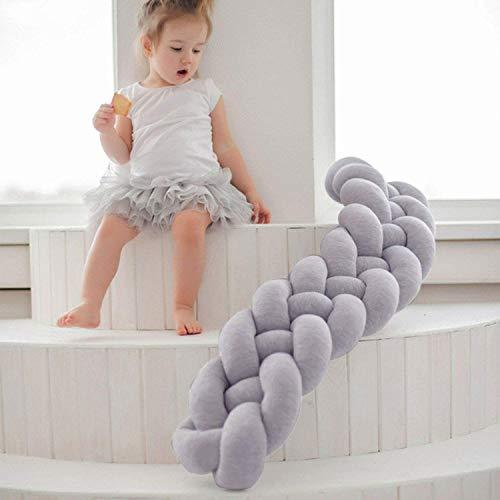 LFEWOX Bett Bumpers Handgemachte Geflochtene Nestchen, 4m Baby-Kopfschutz Knot Braid-Kissen-Kissen Dekorative Kissen Für Baby-Kinderzimmer-Krippe-Bettwäsche Grau