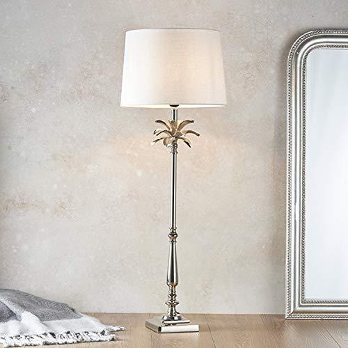 Endon Lighting Leaf & Mia - Lámpara de Mesa Níquel Pulido y Lino Blanco Vintage 1 Luz IP20 - E27