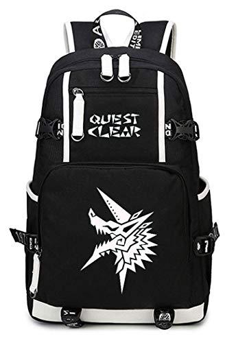 WANHONGYUE Monster Hunter MH Juego Luminoso Mochila Escolar Estudiante Bolso de Escuela Backpack Mochila para Portátil Negro-7