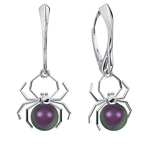 **Beforya Paris** Ohrringe 925 Silber *SPINNE* - Viele Farben - Ohrringe mit Perlen von Swarovski Elements Schön Damen Silber Ohrhänger mit Perlen - Schmuck mit Geschenkbox PIN/75 (Purple)
