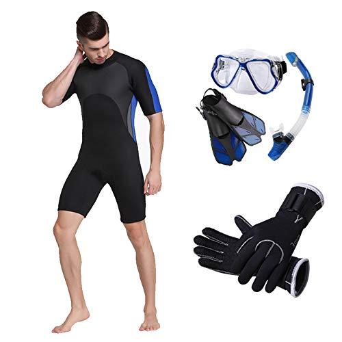 HUOFEIKE Traje de Neopreno para Hombres, Traje de Surf 2 mm Traje de baño Traje de baño Manga Larga Traje de baño Espalda con Cremallera con Cremallera Traje Corto Snorkeling Surf Kayak Nadando,XXXL