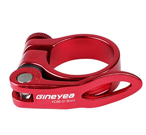 Cierre de sillín o abrazadera para tija de sillín de bicicleta con palanca de liberación rápida para bicicleta de montaña (MTB) o carretera de 31,8 mm (rojo)