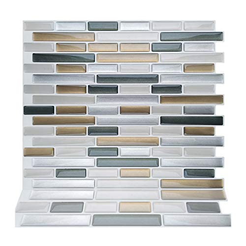 ZXF Pegatinas de baldosas, 10 tabletas de mármol de Brown del azulejo Auto-Adhesivo de Mosaico backsplash de la Cocina Cuarto de baño Decoración Vinilo despegar y Pegar