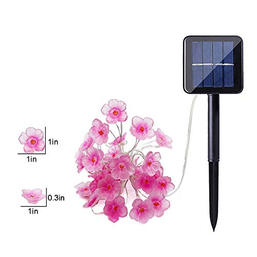 Solar String Lights, 10Ft 30 LED Cherry Blossom Lights, Solar Powered Fairy Lights, 8 Modes, Waterproof, for Outdoor Garden Party Decoration, Warm White