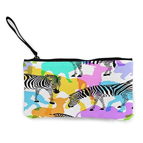 Bolso de mano de lona con animales silvestres coloridos con correa para la muñeca, bolsa de cosméticos multiusos con cremallera para viajes y vacaciones