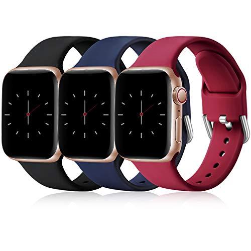 Wepro 3 Stück Armband Kompatibel mit Apple Watch Armband 38mm 42mm 40mm 44mm, Weiche Silikon Ersatz Armband Kompatibel mit iWatch Series 6, 5, 4, 3, 2, 1, SE, 38mm/40mm-S/M, Schwarz/Blau/Rot