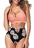 AOQUSSQOA Mujeres Tankini de Dos Piezas Trajes de baño Cintura Alta Halter Vintage Bikini Set Traje de baño para Mujer (4FOrange, M)