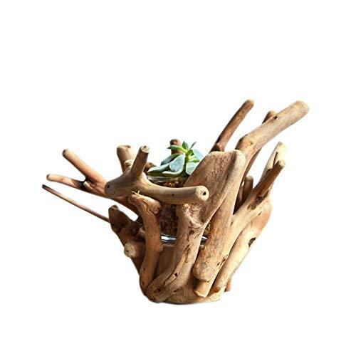 Rishx Creative Main Pot de Fleurs en Bois Accueil Succulent Plant Top Ensemencement Main Personnalité Pot de Fleurs en Bois décoratifs Artisanat Bureau des ménages