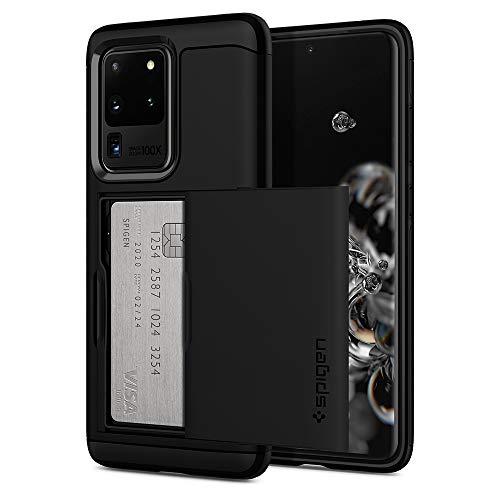 Spigen Slim Armor CS Kompatibel mit Samsung Galaxy S20 Ultra Hülle, 2-teilige Handyhülle Kartenfach TPU Schicht + PC Rückschale Hülle Schwarz ACS00719