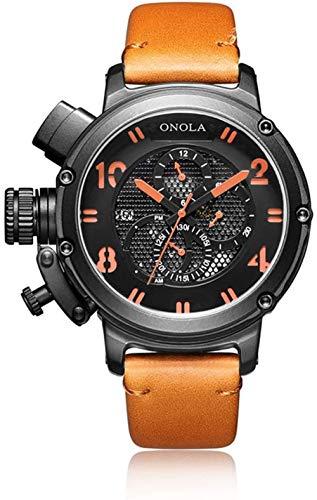 Reloj casual para hombre, impermeable, automático, mecánico, correa de piel de becerro, reloj de pulsera, cara grande, para hombres C-D