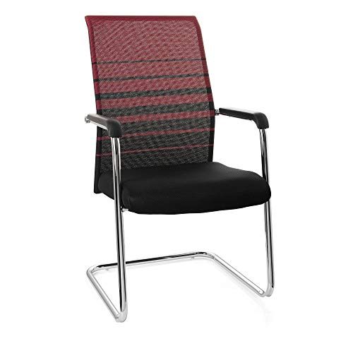 hjh OFFICE 706791 silla de confidente FALCONE V tejido negro/rojo, con apoyabrazos, cromado, estable, silla visitante