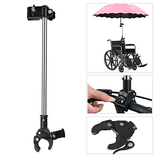 Umbrella Mount Holder, Adjustable Umbrella Mount Stand No Need Wrench to Attach/Detach Umbrella Clamp for Wheelchairs, Walker, Rollator, Biycle, Pram, Stroller, Black