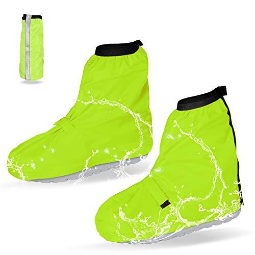 SANBLOGAN Überschuhe Fahrrad, Wiederverwendbare wasserdichte Überschuhe Outdoor Regenüberschuh Wasserdicht mit Reflektor-Streifen&Aufbewahrungstasche Einstellbare Größe, Für Regen Schlammige Straßen