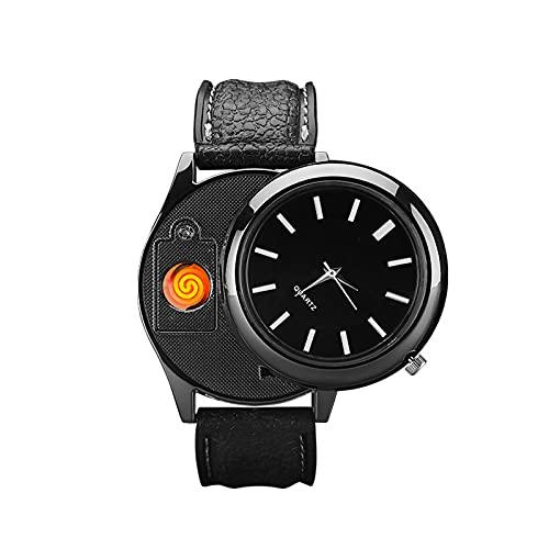 HOBEKOK Encendedor Eléctrico Reloj de Moda Esfera de Alta Precisión Reloj Revestido Espejo Correa de Cuero de Silicona Tungsteno A Prueba de Viento Encendedor de Cigarrillos Personalizado,Black