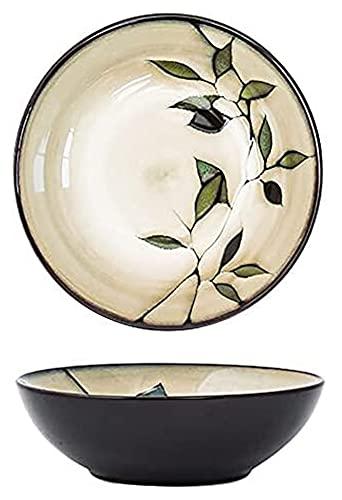 Ramen sopa tazón estilo japonés estilo infeliz color ramen sopa cuenco 7.5 pulgadas, plantas patrón de flores cerámica ramen cuenco, casa de ensalada de cerámica pintada a mano retro de la casa, b