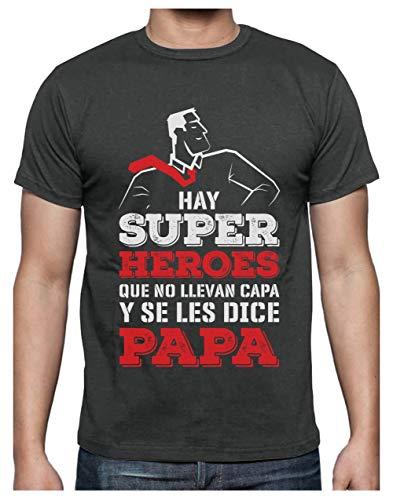 Camiseta para Hombre - Regalos para Hombre, Regalos para Padres Originales, Regalo Padre Divertido - Mi Papá es mi Súper Héroe - Medium Gris Antracita