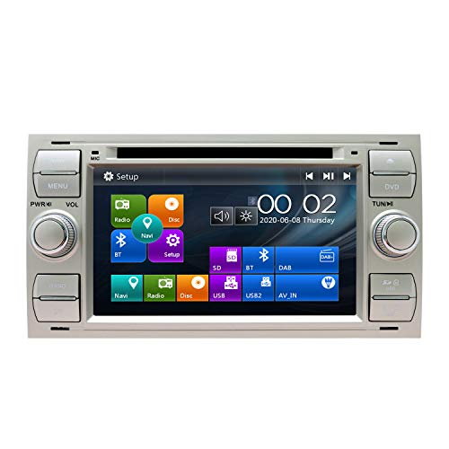 SWTNVIN Radio estéreo para Coche Compatible con Ford Focus Fusion Transit Fiesta Galaxy 7 Pulgadas GPS Navigator Doble DIN Unidad de Cabezal Soporte RDS Video Bluetooth SWC DVD Player (plata06)