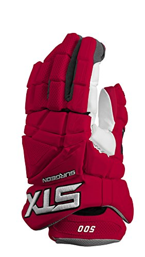 STX Lacrosse Surgeon 500 Gloves with Climate Control, Red, 12""