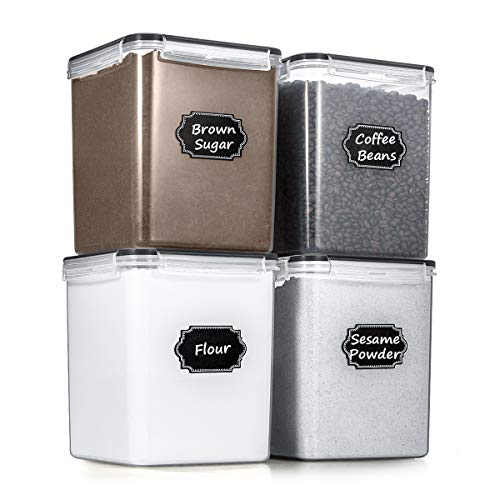 Airtight Food Storage Containers, Wildone BPA Free Cereal & Dry Food Storage Containers Set of 4 (4.3L/145.4oz) for Sugar, Flour, Snack, Baking Supplies, with 4 Measuring Cups, 20 Labels & 1 Marker