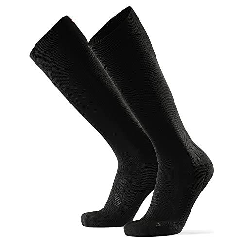 Abgestufte Kompression Socken für Männer & Frauen EU 43-47 // UK 9-12 Einfarbig Schwarz - 1 Paar