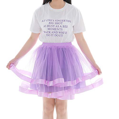 Women 80's Plus Size Tutu Skirt Two Layered Tulle Petticoat Party Tutu Purple