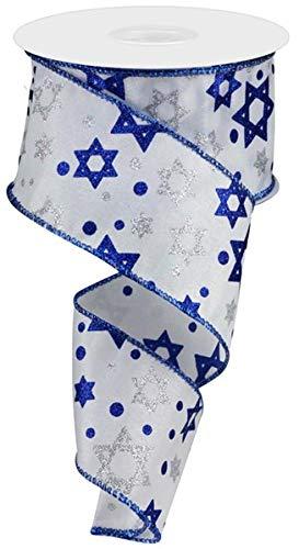 Craig Bachman 2.5' Star of David Satin Ribbon: White (10 Yards) - Hanukkah Ribbon