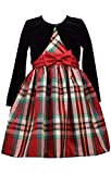 Bonnie Jean Christmas Dress - Plaid with Black Cardigan for Toddler, Little and Big Girls (16)