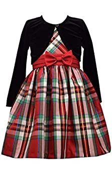 Bonnie Jean Christmas Dress - Plaid with Black Cardigan for Toddler Little and Big Girls  14