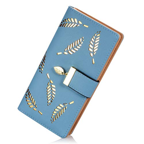 Billetera Larga Mujer, Bifold Billetera con Cierre Hebilla Cremallera Cartera de Cuero PU Monedero Cartera de Embrague (Azul)