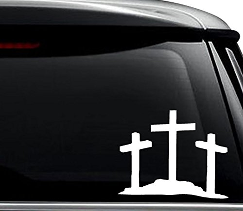 3 Crosses Jesus Christian Decal Sticker For Use On Laptop, Helmet, Car, Truck, Motorcycle, Windows, Bumper, Wall, and Decor Size- [6 inch] / [15 cm] Wide / Color- Gloss White