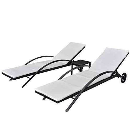 Set di sedie lunghe da giardino con tavolo, schienale regolabile con cuscino rimovibile, per giardino, cortile, terrazza, piscina, spiaggia