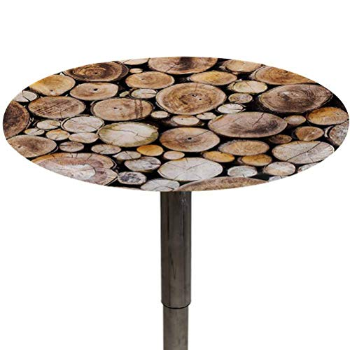 Table Cloth Round Rustic Patio Table Cover Wooden Logs Background Circular Shaped Oak Tree Life and Growth Theme Kitchen Dining Room Decoration Pale and Sand Brown Diameter 40'