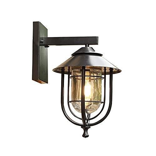 Zziyj Linterna De Aluminio Linterna Impermeable Iluminación De Una Sola Luz Lámpara De Pared Al Aire Libre Acabado Negro Con Vidrio Esmerilado Para La Calzada De Garaje Patio/Pórtico Calidad Lámpara