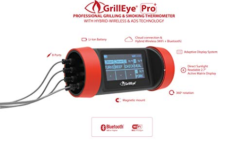 GrillEye GE0003 Pro Plus Grill- & Räucherthermometer mit Hybrid-Wireless-Technologie & Cloud Überwachung, rot schwarz